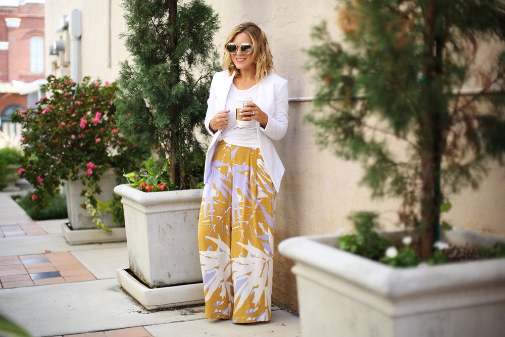 Wide leg printed pants:white blazer: fall transition-7.jpg