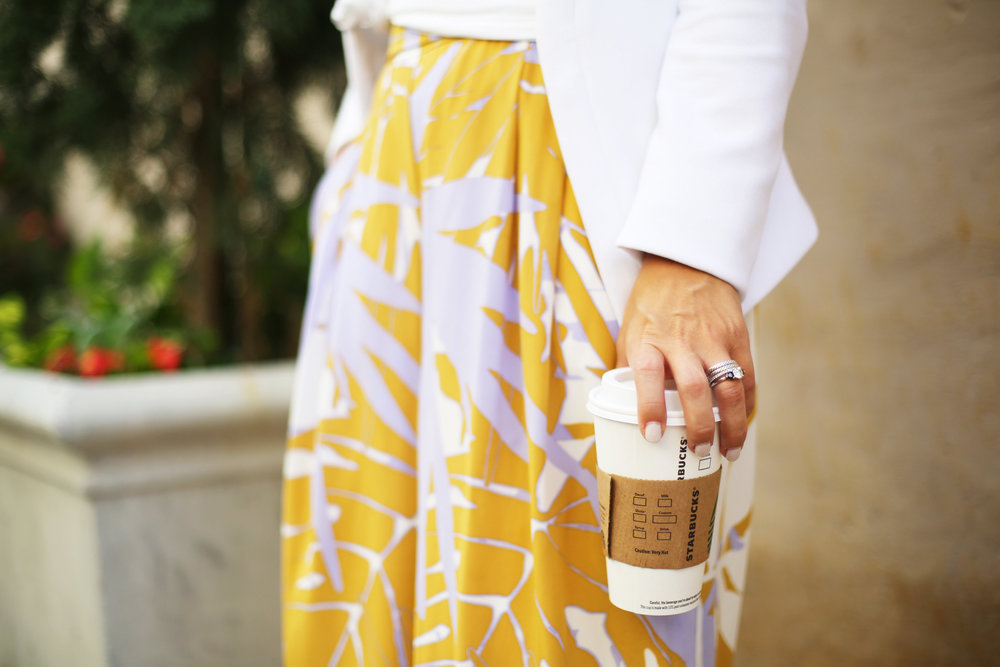 Wide leg printed pants:white blazer: fall transition-4.jpg
