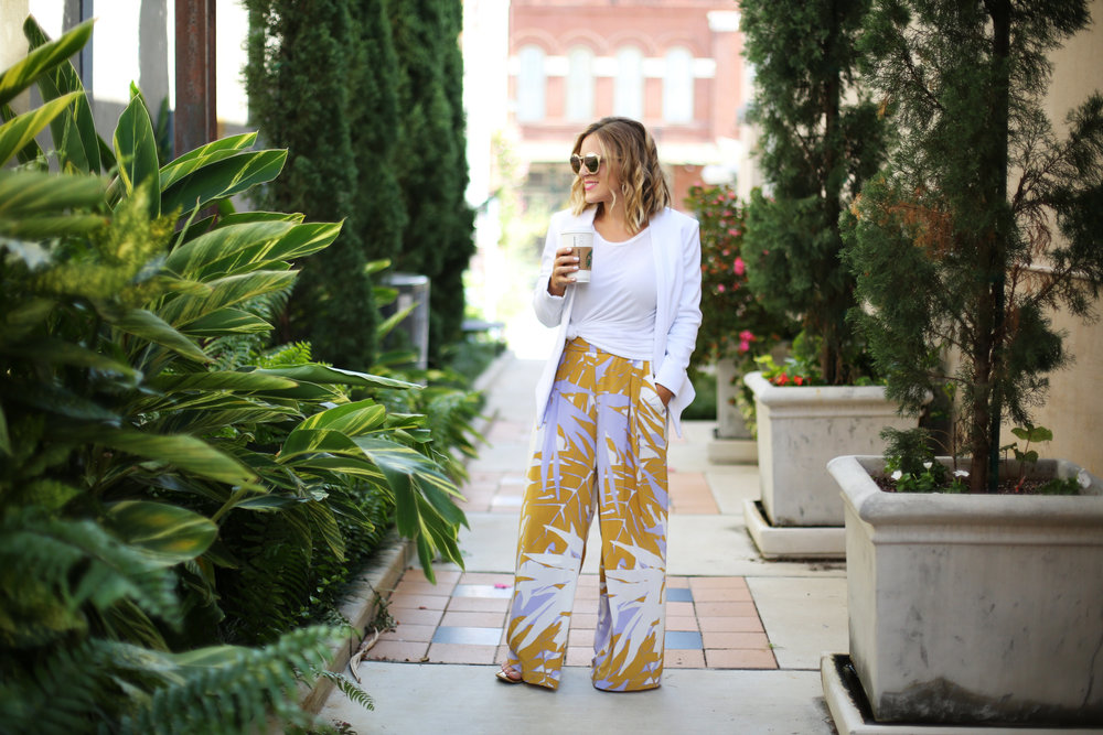 Wide leg printed pants:white blazer: fall transition-2.jpg