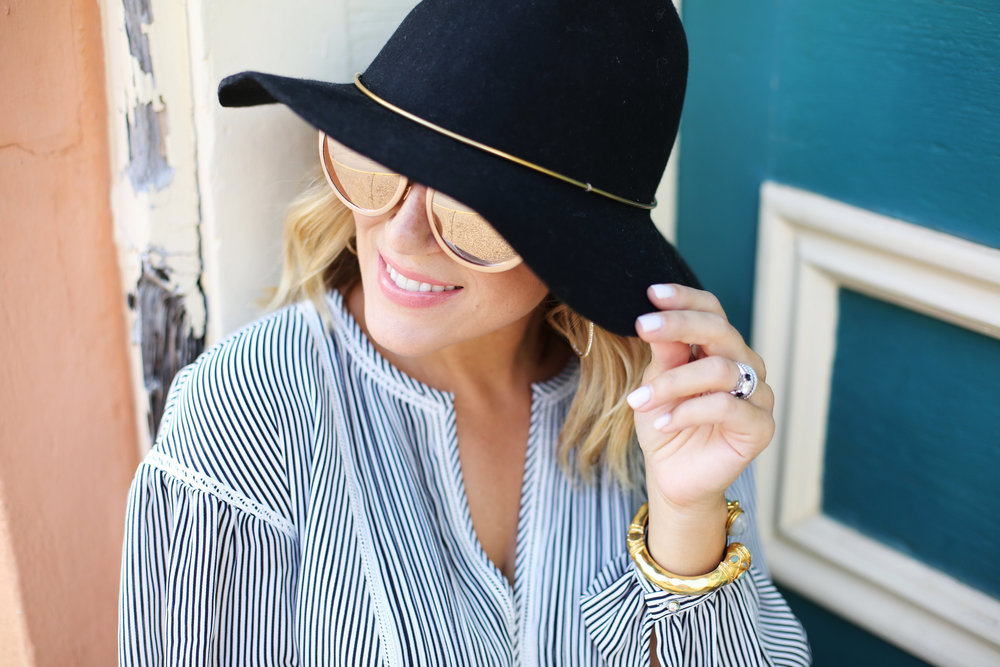 black and white stripes: dress: fall fashion: black hat: black booties-6.jpg