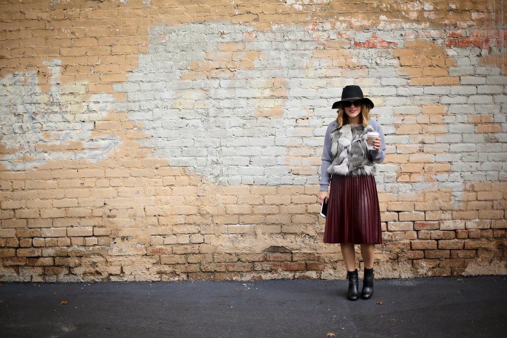 fur sweatshirt:pleated leather skirt:black hat-1.jpg