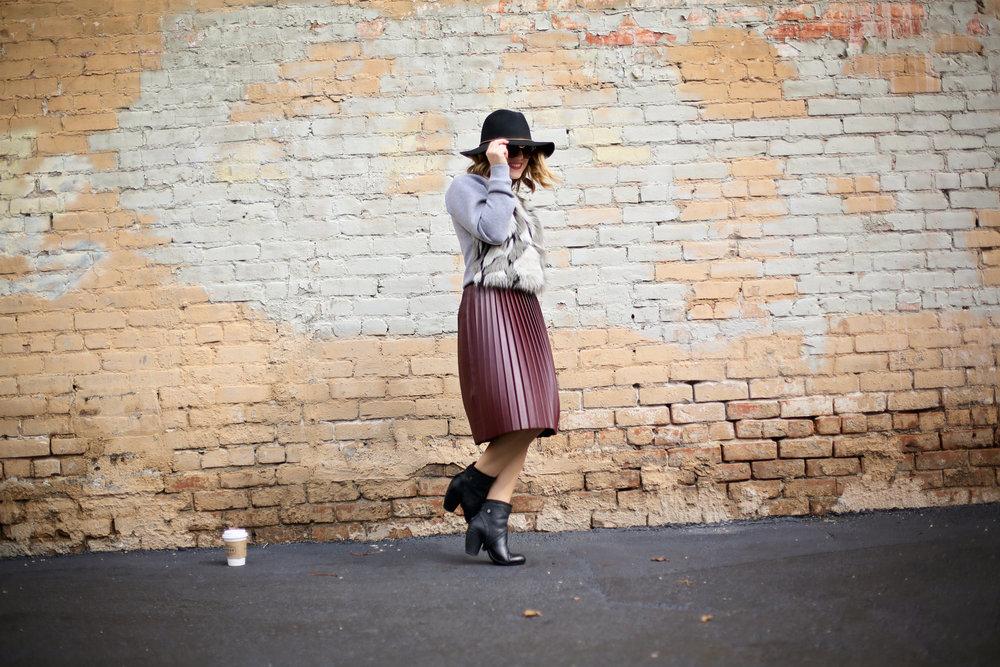 fur sweatshirt:pleated leather skirt:black hat-3.jpg