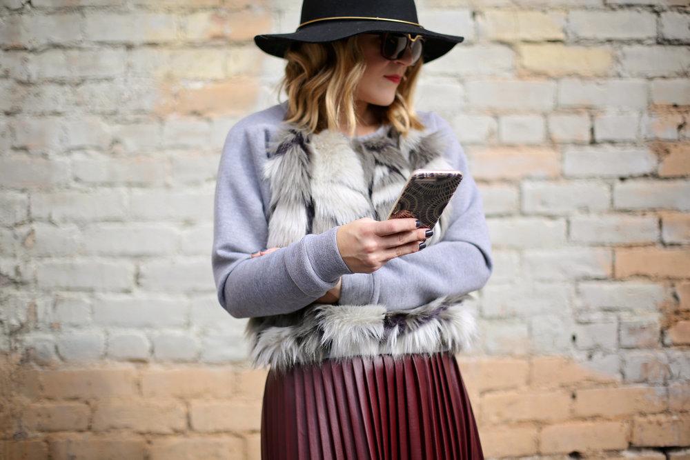 fur sweatshirt:pleated leather skirt:black hat-6.jpg