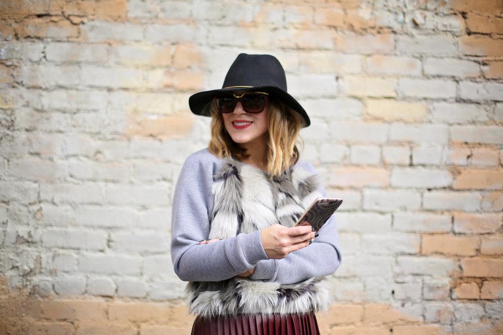 fur sweatshirt:pleated leather skirt:black hat-4.jpg