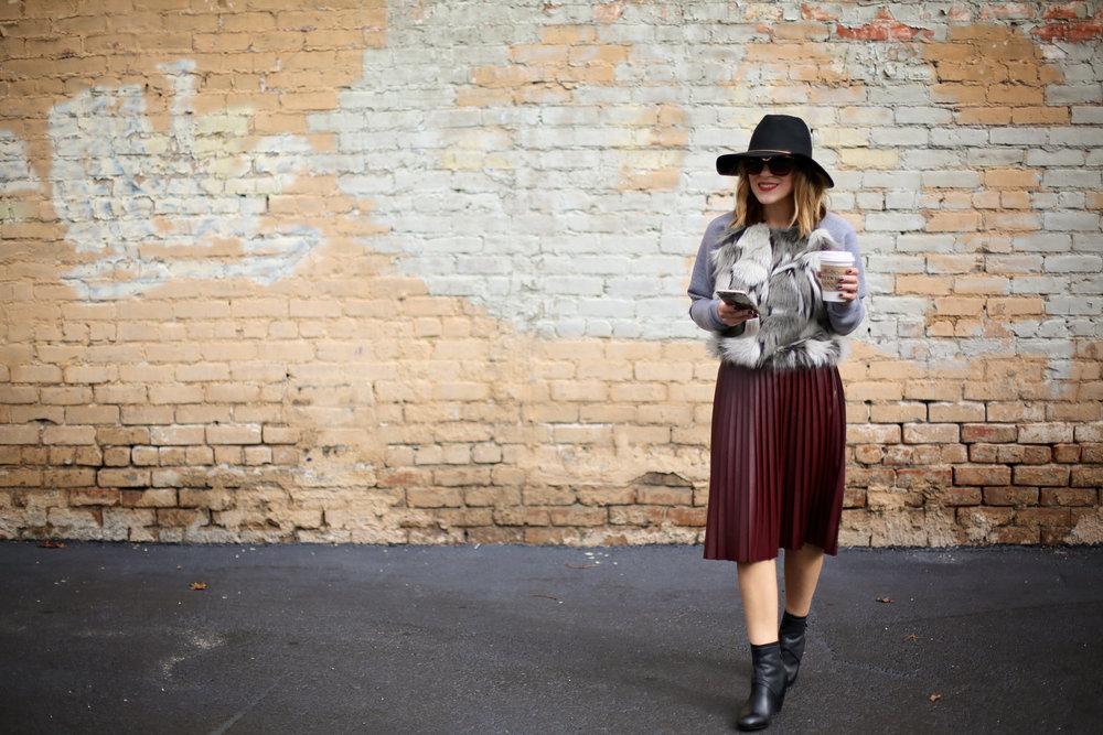 fur sweatshirt:pleated leather skirt:black hat-7.jpg