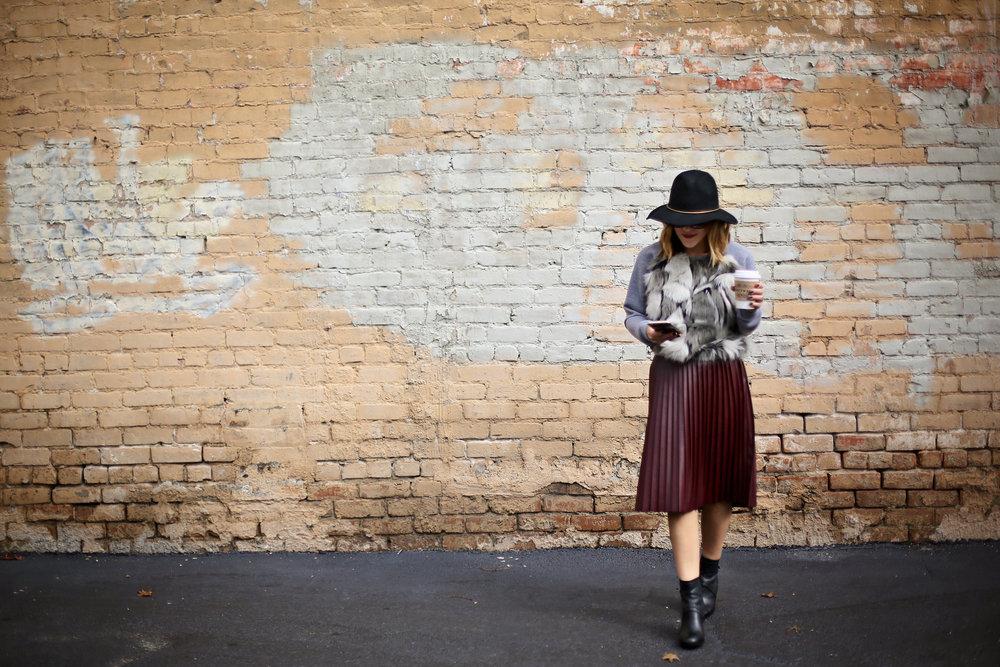 fur sweatshirt:pleated leather skirt:black hat-8.jpg