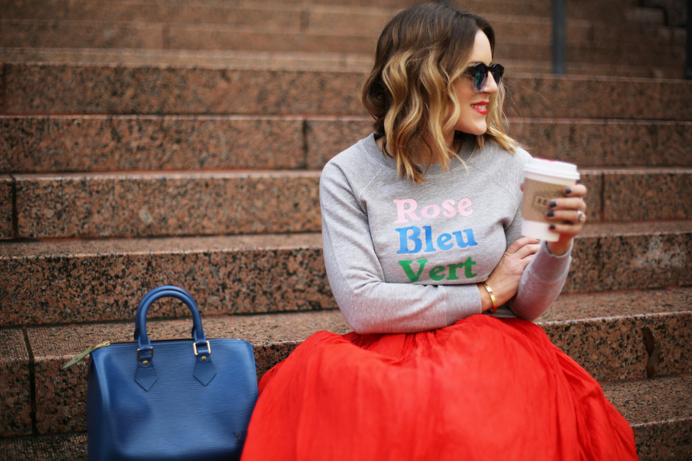 valentine's day outfit-red skirt-blue louis vuitton- j.crew top-3.jpg