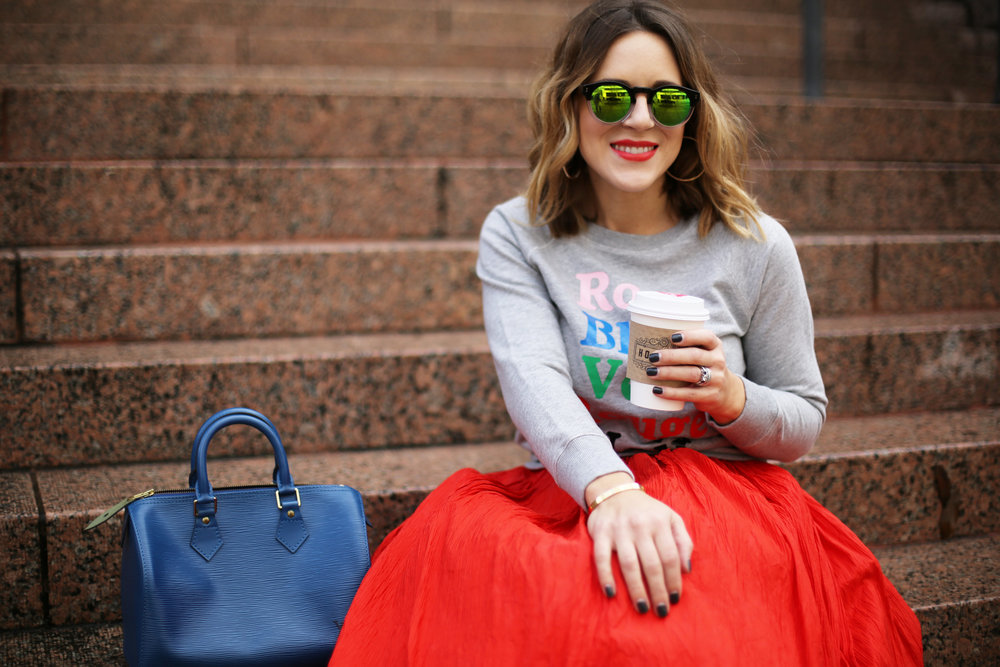 valentine's day outfit-red skirt-blue louis vuitton- j.crew top-2.jpg
