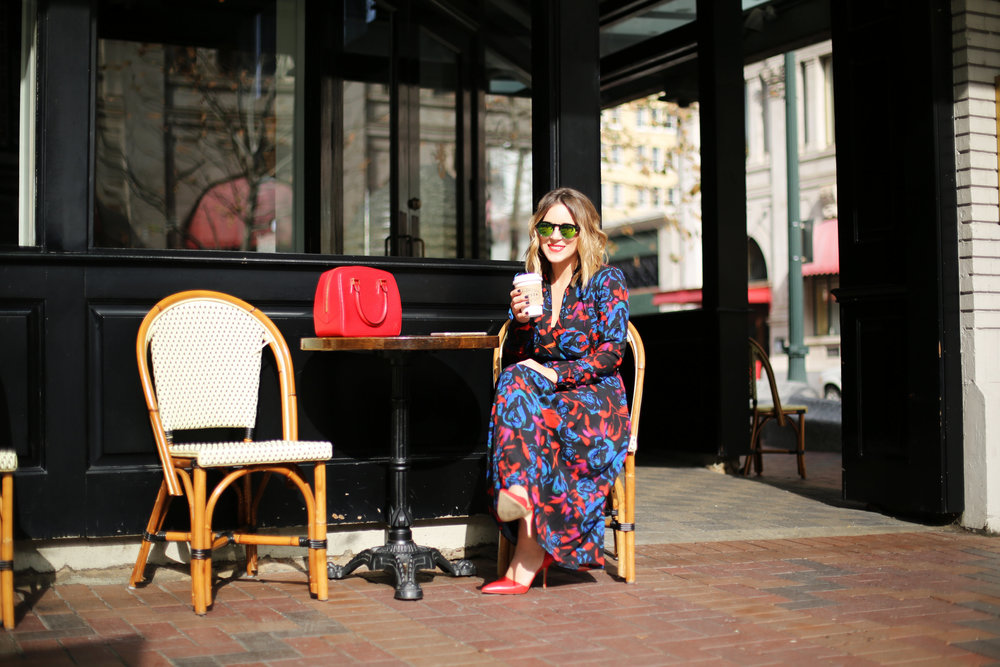 floral red, blue and black long sleeve dress: red heels-1.jpg