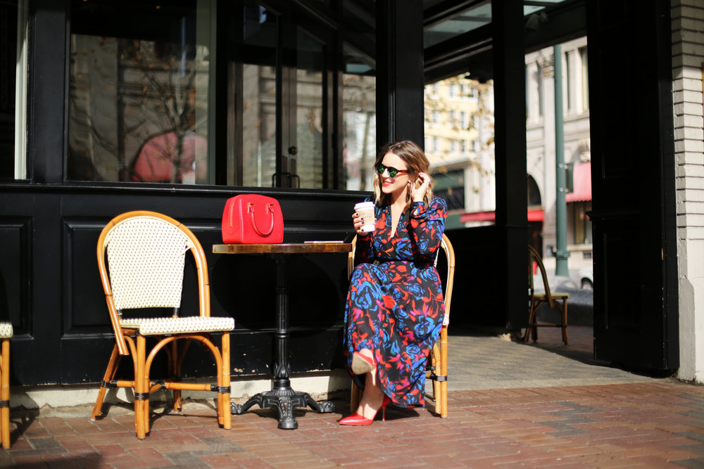 floral red, blue and black long sleeve dress: red heels-6.jpg