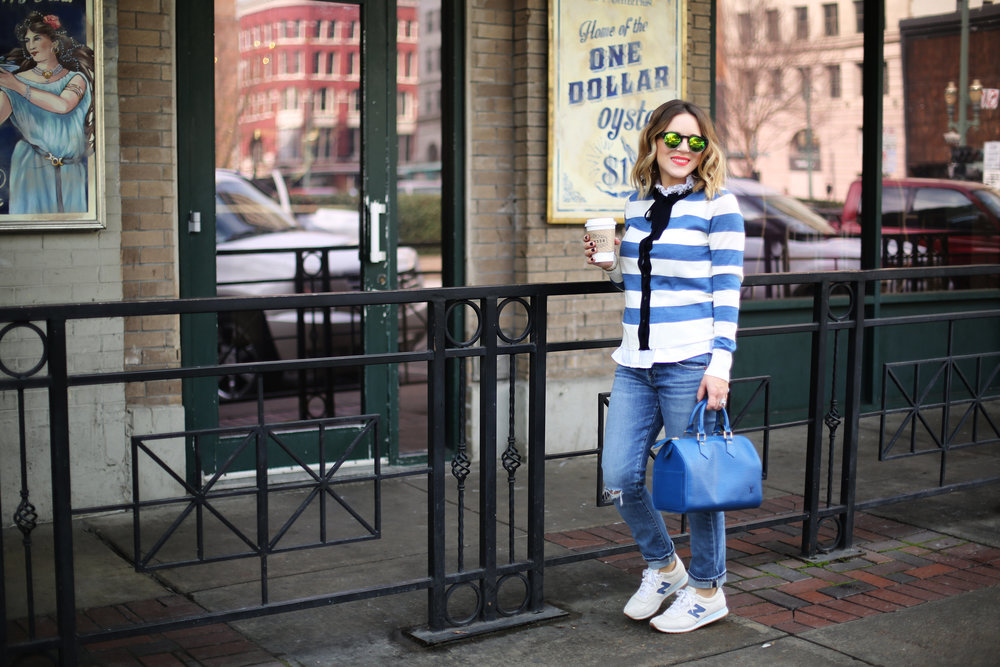 J.Crew striped cardigan with sneakers and blue epi louis vuitton-5.jpg
