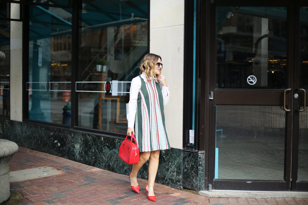 Anthropologie Striped Dress: fancy collar: downtown housto-8.jpg