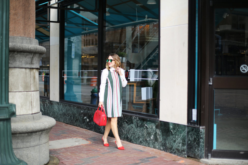 Anthropologie Striped Dress: fancy collar: downtown housto-7.jpg