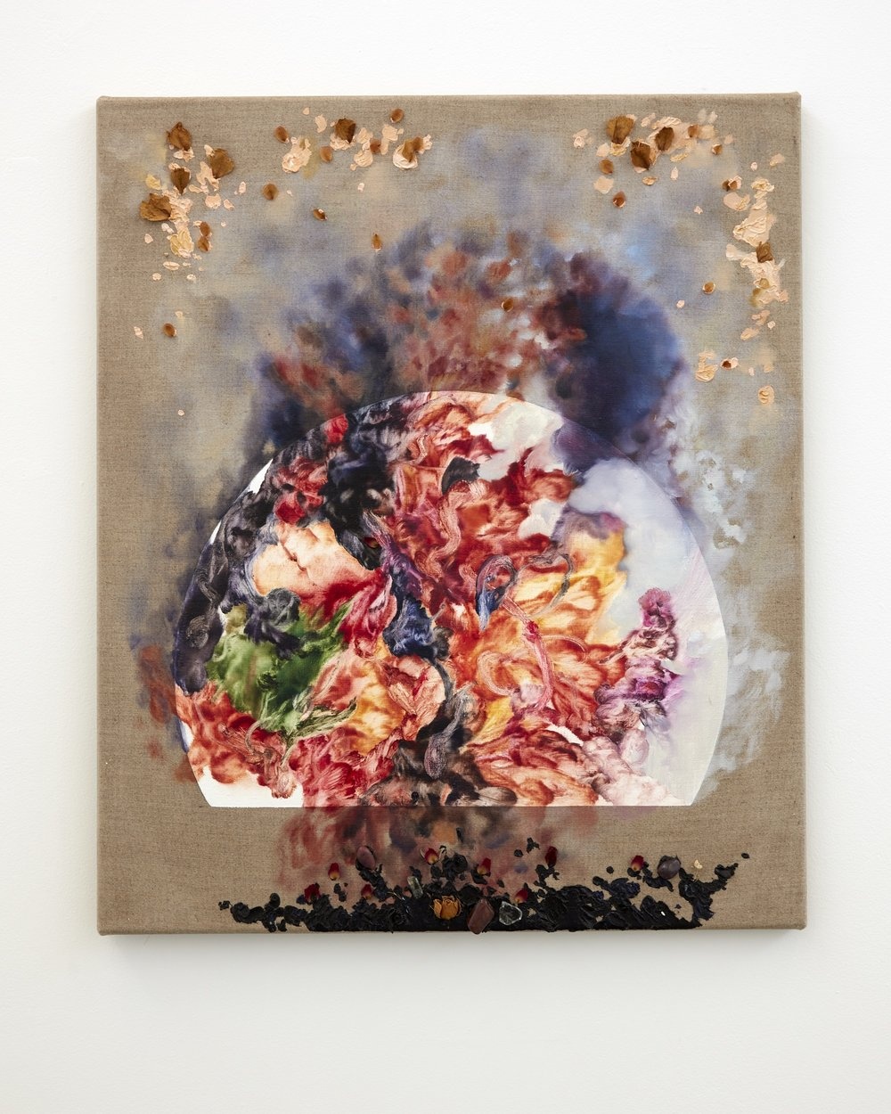 Burnt Norton    oil on linen with dried flowers, ruby and topaz  550mm x 650mm