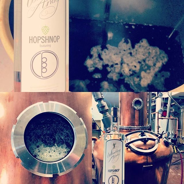 """""""You do what?  You distill beer into a spirit?!"""" Our answer.  You bet we do!  Fresh tote of Due North IRA from Bonsai Brewing being turned into Hopshnop before our very eyes.  #Science"""