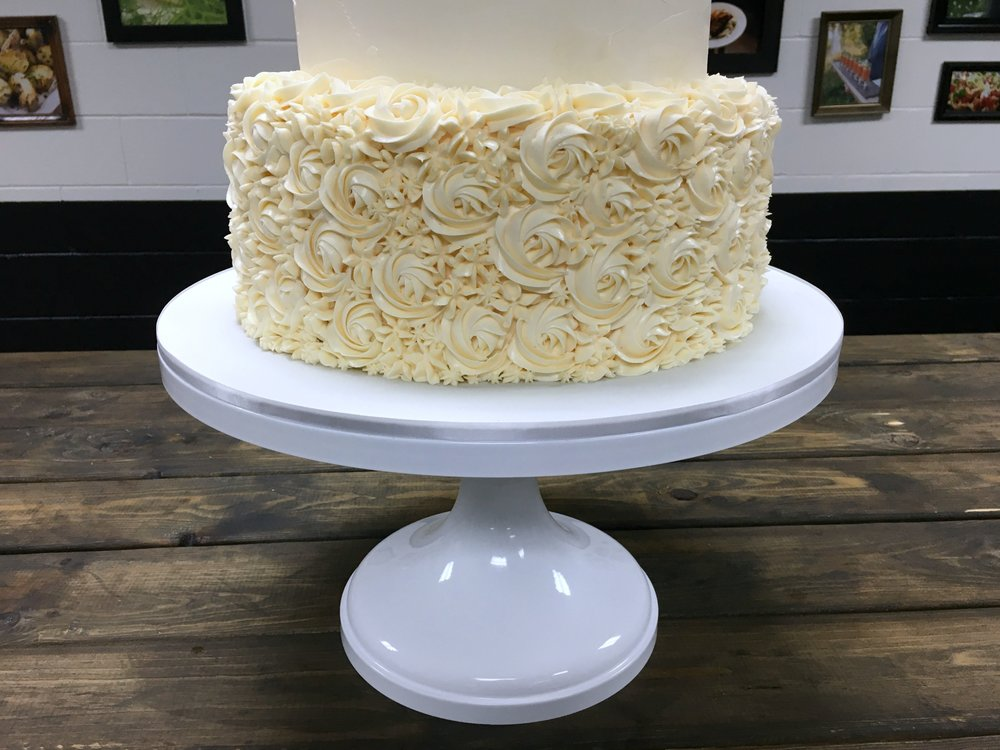 Peach buttercream floral rosettes | Enticing Icing, Minneapolis, MN