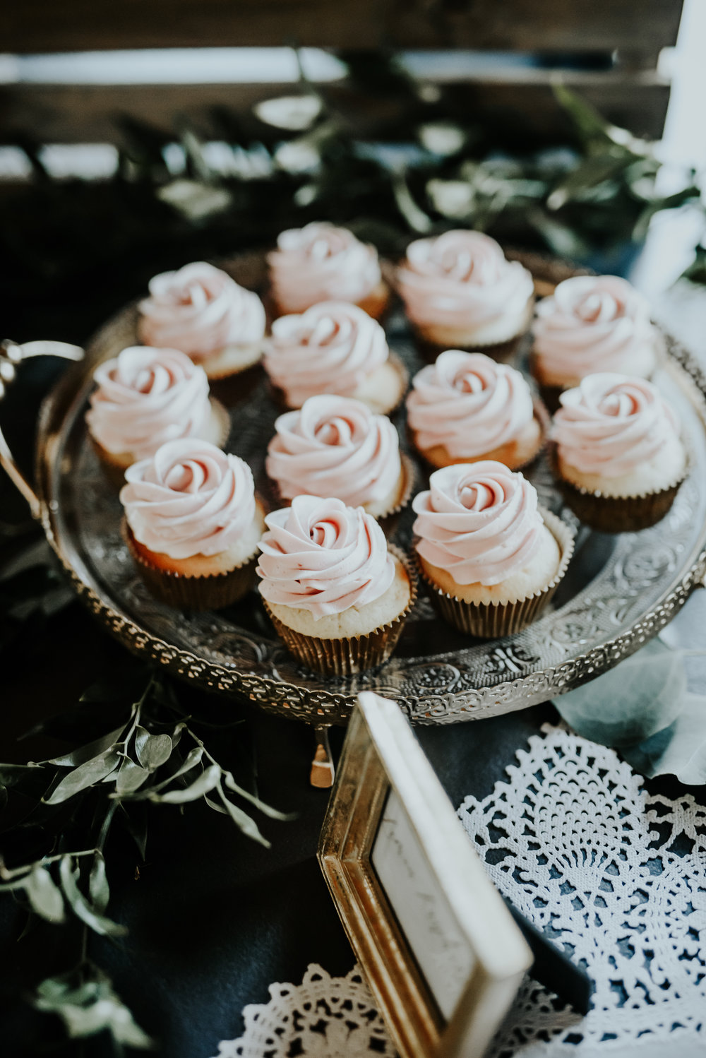 Over 20 dozen cupcakes were used to fill this table, all topped with my signature buttercream rose swirl.