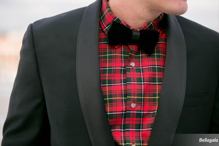 Jake looked dapper in a plaid shirt, black bowtie, and jacket.