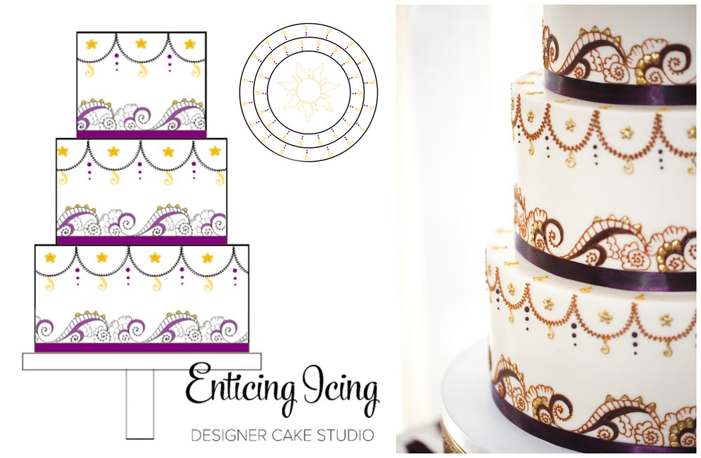(Left) Digital sketch by Enticing Icing. (Right) Cake image captured by  Bravado Weddings