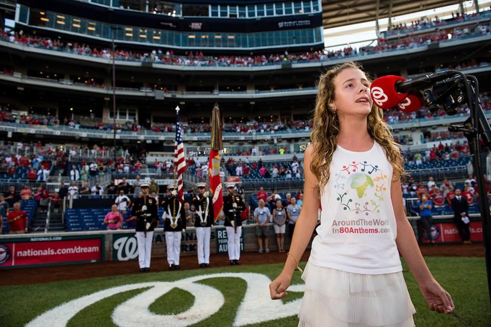 Click to hear Capri sing at the Washington Nationals game