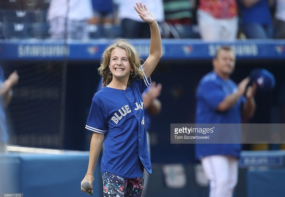 Click to hear Capri sing the anthems at the Blue Jays Game for her Canadian homecoming.