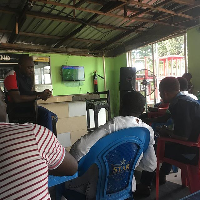 Watching the game. Naturally the power is out and the generator is drowning out the commentary. But at least there is a fan and the beer is cold.  #nigeria #calabar #worldcup #africa #rtw #klr650 #klr #advrider #adventure #moto #motorcycletravel