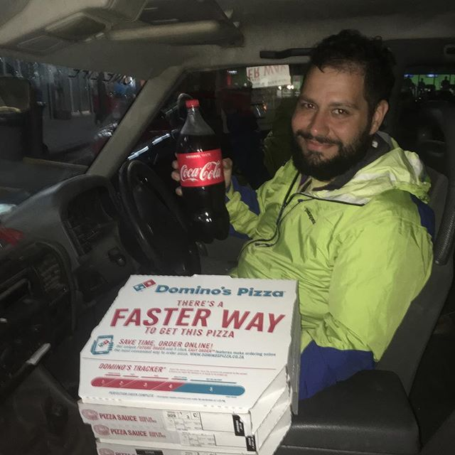 Mario decided to drive for the first time in 13 months to pick up a special dinner that gave us all a taste of home! His vehicle of choice was a bright orange, right hand drive, manual Land Rover that has over 250k miles on it!  #leftlane #righthanddrive #dominos #cocacola #capetown