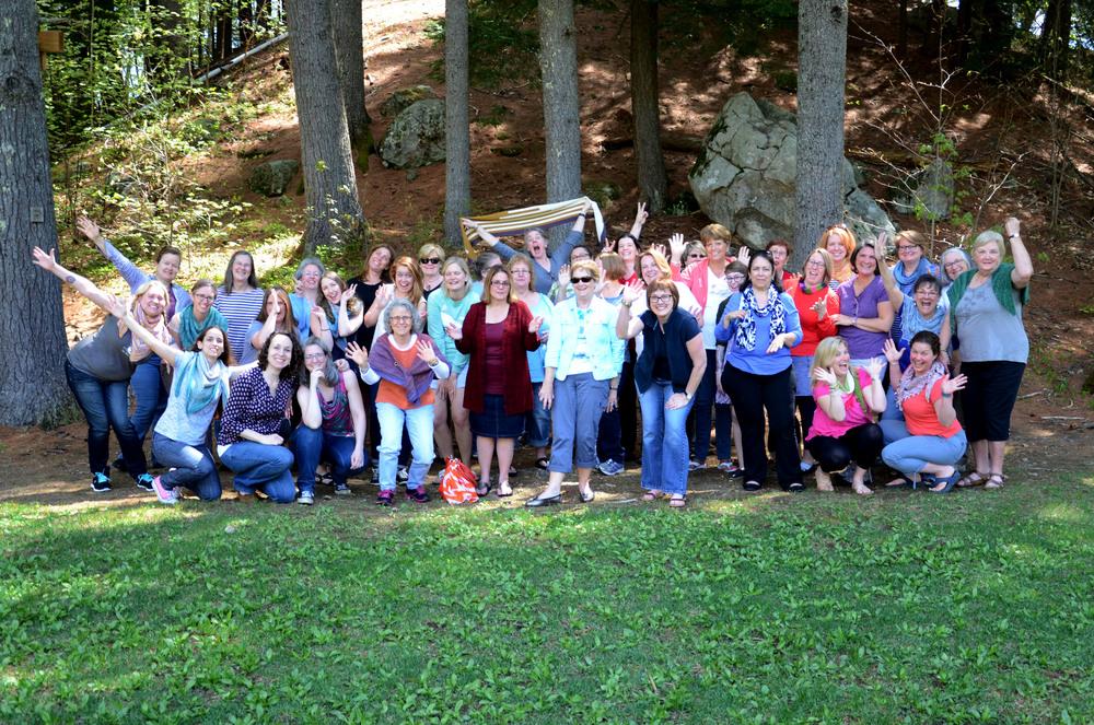 Happy knitters at Lakeside fiber Retreat 2016