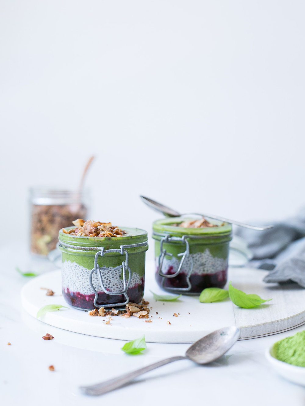matcha basil chia parfait with berries ( recipe link )