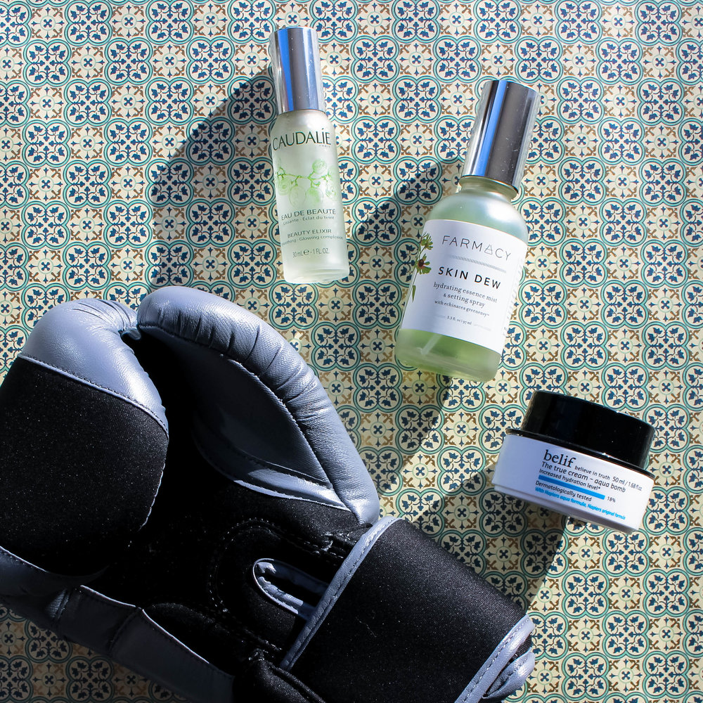 caudalie beauty elixir // farmacy skin dew + belif aqua bomb