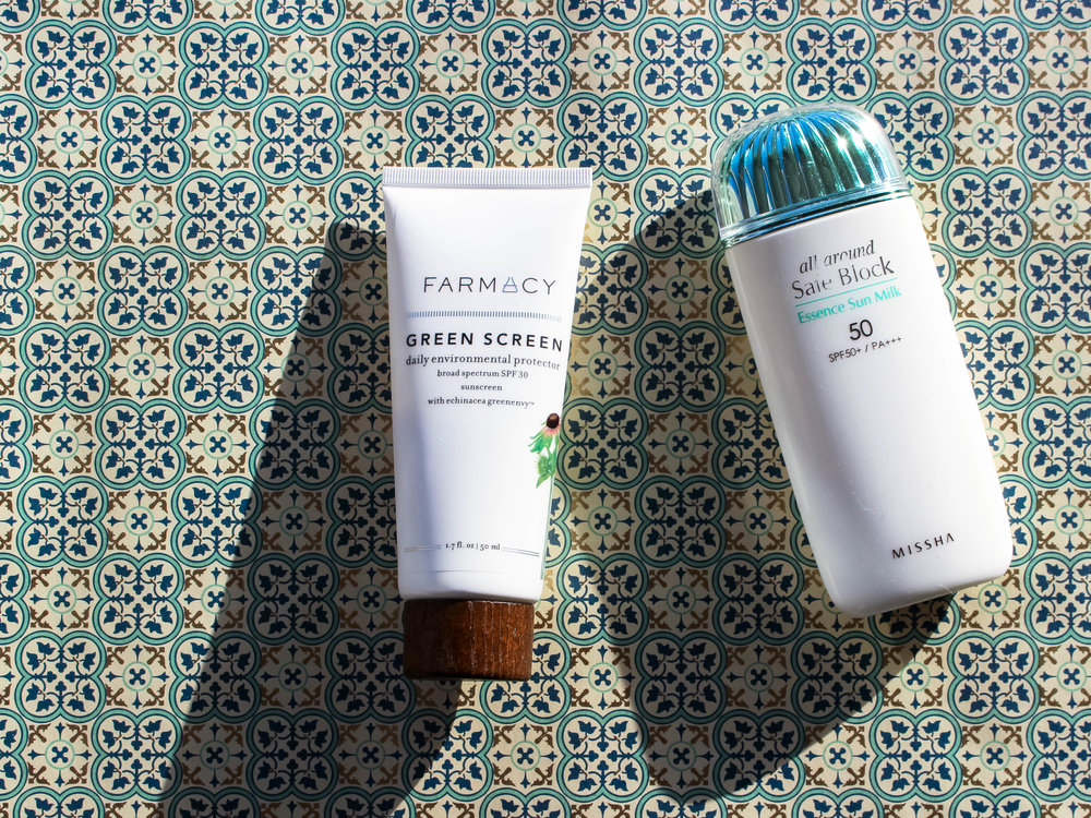 farmacy green screen spf 30 // missha essence sun milk spf 50