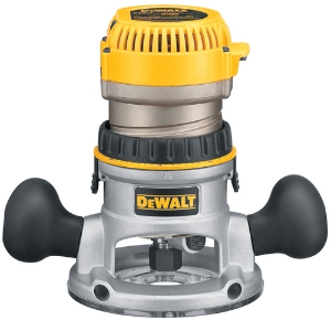 DeWalt 618 shown with fixed base. The router motor is removed from the fixed base when used in the PantoRouter.   The DeWalt router fits the pantograph but doesn't work well with the dust collection hood.