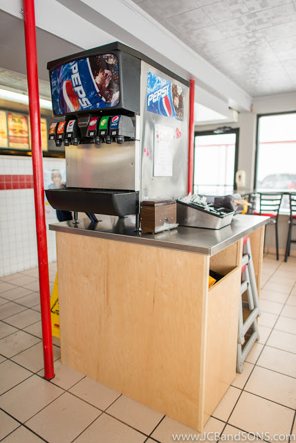 Dairy Queen Listowel Ice Cream Carpentry Millwork Custom Cabinetry JCB and Sons Building Durham Hanover Owen Sound Walkerton DQ Stainless Steel Counter Top Pepsi Machine Pop Cabinet Drawers Maple Fast Food Renovation Remodel Weldor Metal Behrns Metal