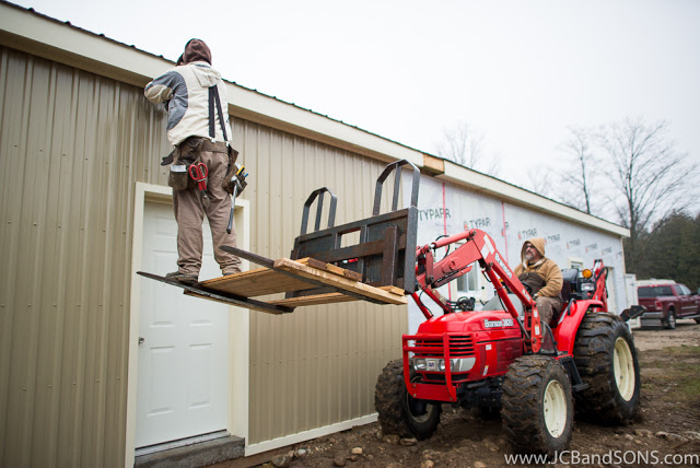 jcb and sons carpentry pole shed building honey shed wall steel siding agriculture construction Hanover durham owensound township of southgate windows doors steel kraft typar roxul spray foam