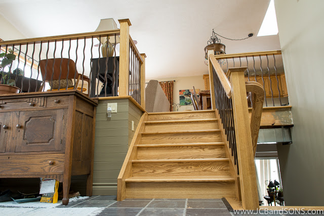 jcb and sons carpentry millwork railing spindles newel posts stairs hardwood ash durham hanover owen sound west grey grey bruce county millwork trim woodworking staining rod iron