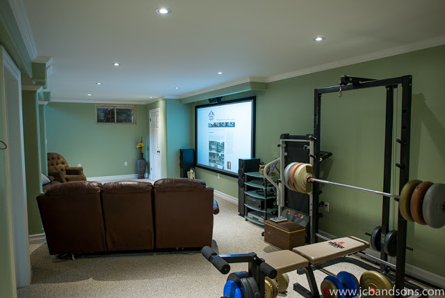 jcb and sons carpentry basement renovation durham west grey home theatre office integrated audio and visual event management owen sound drywall home gym bathroom ceramic tile shluter ditra kerdi board moen american standart rain head hand shower toilet led pot lights generator panel HRV