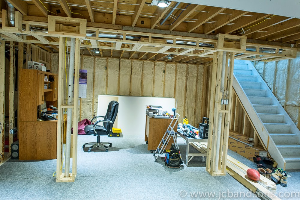 West Grey Durham Owen Sound Carpentry Carpenter JCB & SONS Basement Renovation Drywall Framing Spray Foam Bulk Head Pot Light HRV Duct Work Sewage Pump Utility Room