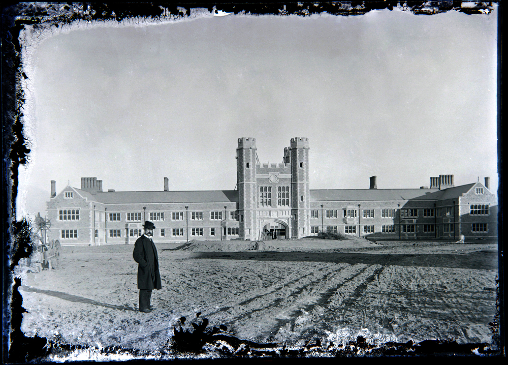 A rare view of Brookings Hall at Washington University in St. Louis, MO.  c. 1902. The man is unidentified.