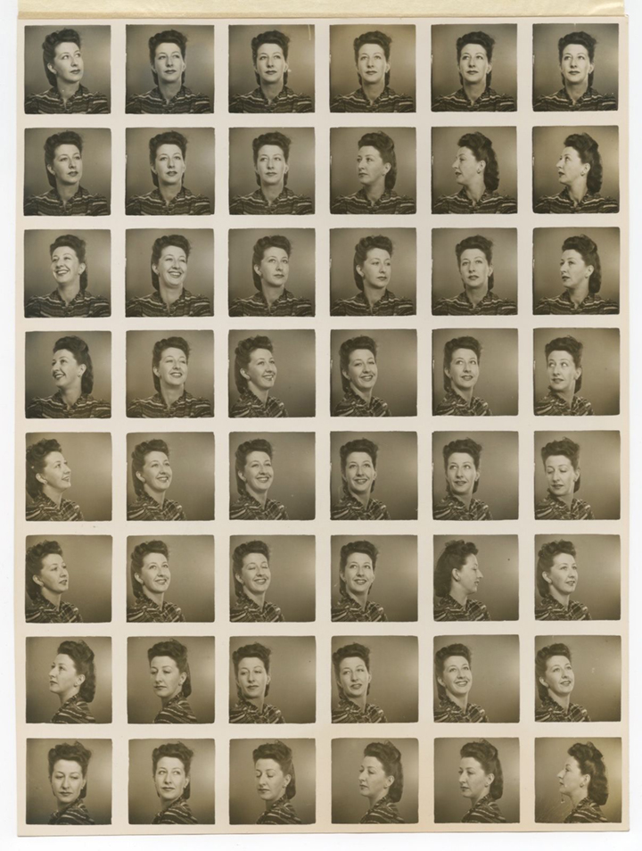 An extremely rare sheet of 48 small portrait studio images, c. 1945.