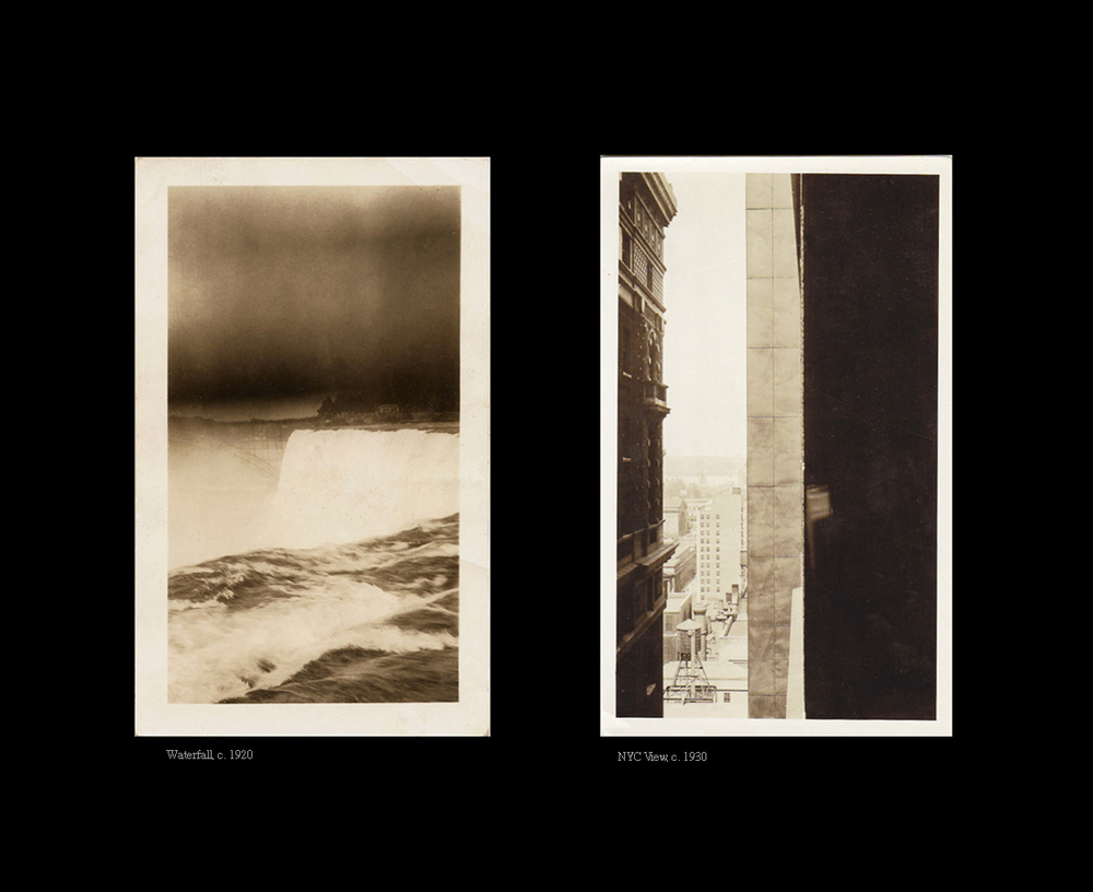 Above, left: A Waterfall, c. 1920 and (right) a view of New York City, c. 1930.  Both share similar qualities of light and dark, positive and negative space.