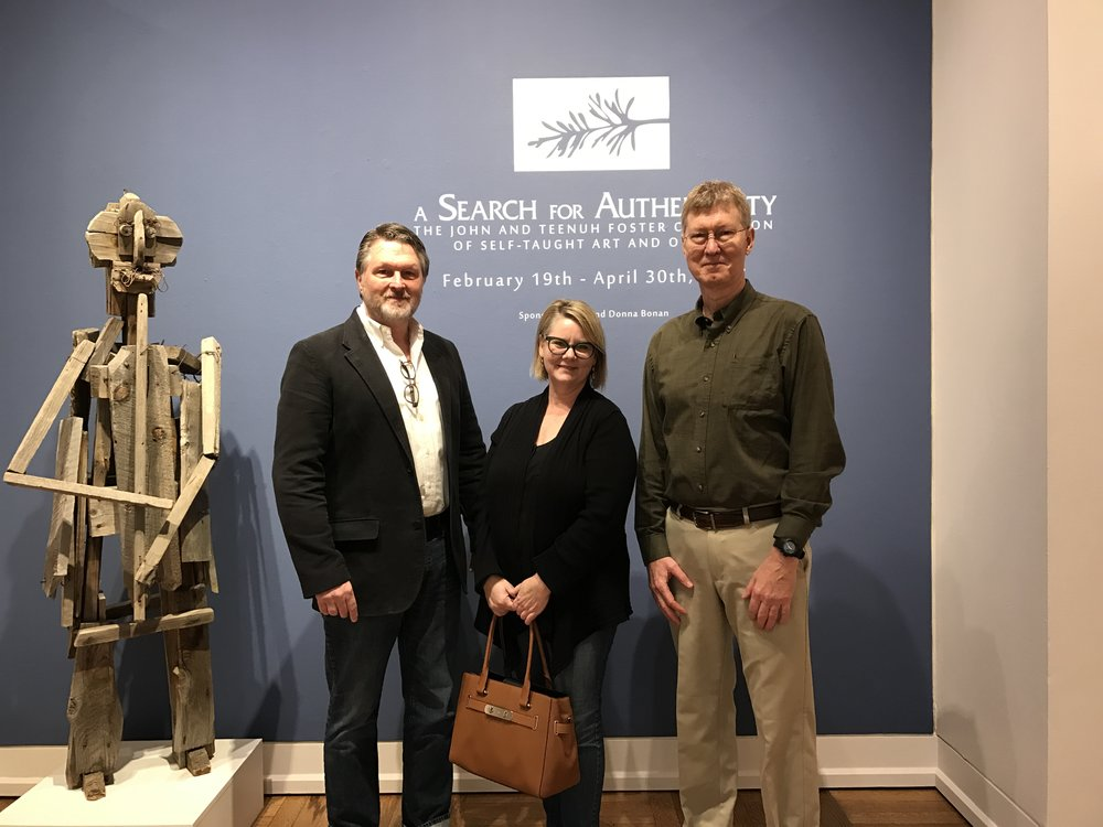(Left to right) Collector John Foster; Melissa Wolfe, Curator of American Art, Saint Louis Art Museum; and Rusty Freeman, Director of Visual Arts, Cedarhurst Center for the Arts.