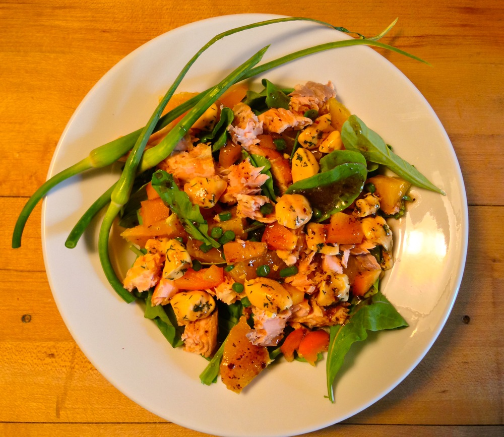 Salad with Grilled Salmon and Garlic & Dill Curds