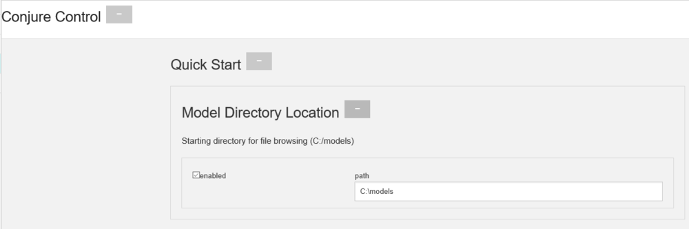 "One suggestion we have for quicker access to your models is setting up a folder for all of your models and then copying the path into Conjure Control. Here I have checked the enabled box and set the path to start the application in my C: drive under the folder ""models"". Now when you go to File --> Open within Conjure it will open right to this directory."