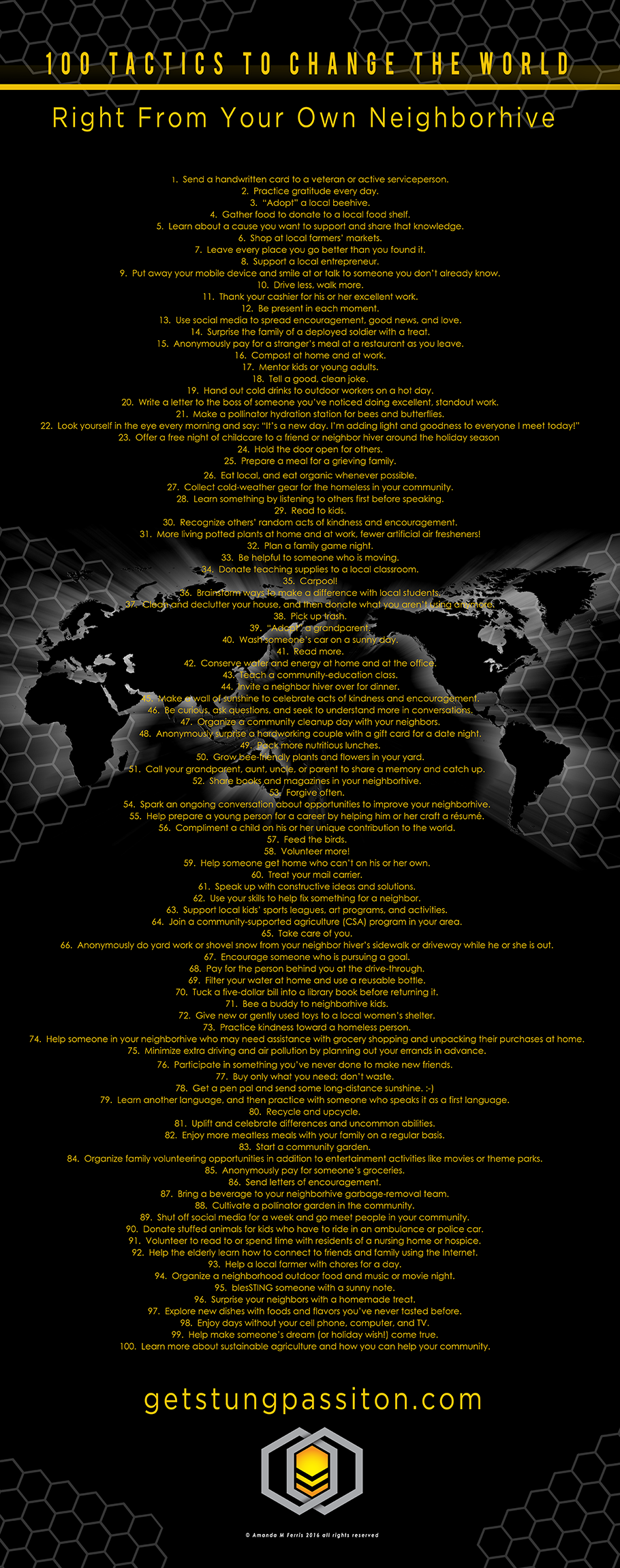 """100 Tactics to change the world"" poster coming soon to the sting ops shop for your classroom, workplace, & home!"