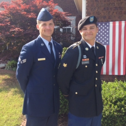Alex Stojadinovic, US Air Force, and Zachary Stojadinovic, US Army