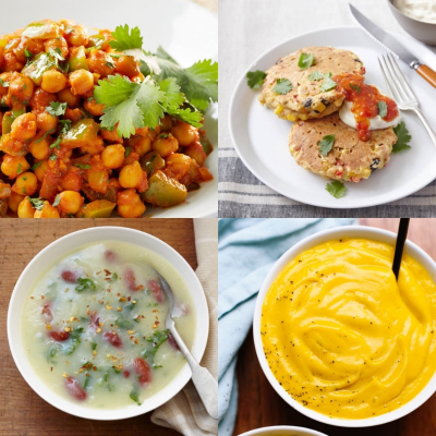 top left: Chana Masala; top right: black bean corn cakes ; bottom left: caldo verde soup ; bottom right: butternut squash soup   - not my photos
