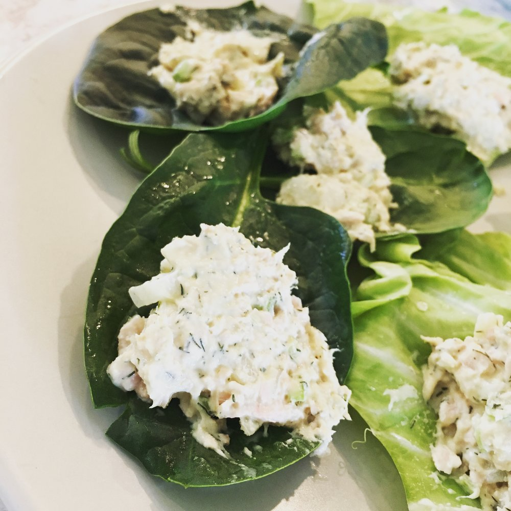 tuna salad on giant spinach leaves