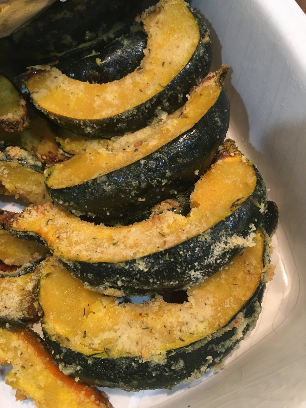 a thanksgiving dish: herb crusted acorn squash