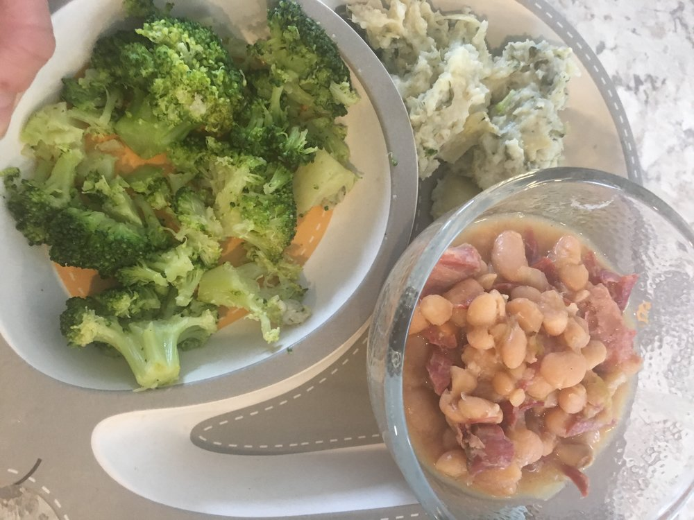 Ham & beans, broccoli, mashed artichoke & spinach potatoes