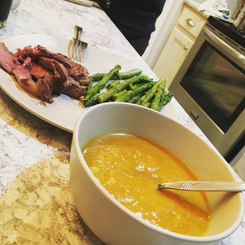 steak, asparagus, and butternut squash soup